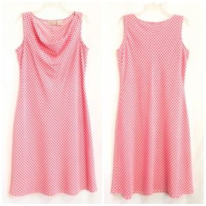 Coral Pink & White Gingham Drape Neck shift dress